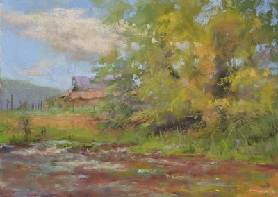 Nestled by Sharon Bamber plein air pastel painting of old barn and tree by river