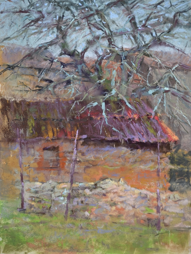 Oak and Stone by Sharon Bamber plein air soft pastel painting of old stone building and oak tree in France