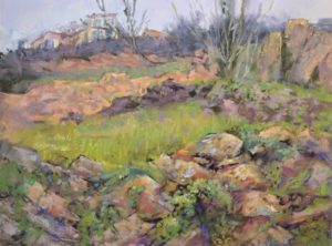 Old Stone Terraces by Sharon Bamber plein air soft pastel painting of old stone terraces in France