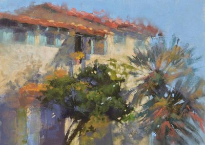 Old Town San Diego by Sharon Bamber plein air soft pastel painting of old stone building