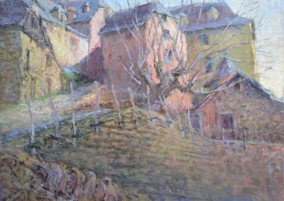 On the Pilgrims Way by Sharon Bamber soft pastel painting of an old French Village Conques on the Camino