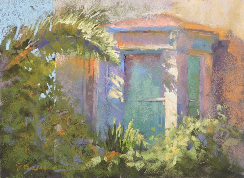 Palm Patterns by Sharon Bamber plein air soft pastel painting of palm fronds and building
