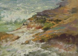 Point Loma by Sharon Bamber plein air pastel painting seascape of rocks and sea