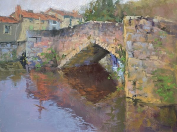 Pont de la Pierre by Sharon Bamber plein air soft pastel painting of old stone bridge in France