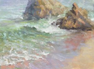 Reflection by Sharon Bamber plein air soft pastel seascape painting of rocks and sea