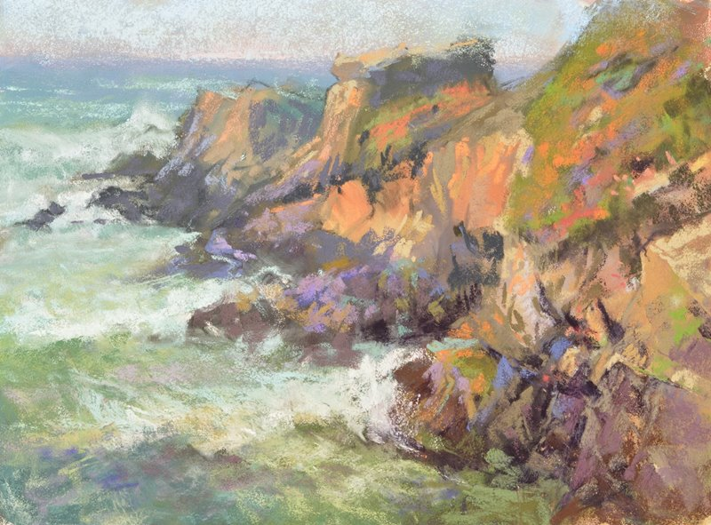 Rugged coastline plein air soft pastel seascape painting by Sharon Bamber of coastal cliffs and sea