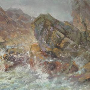 Strong Winds and Shafting Moods by Sharon Bamber plein air soft pastel painting seascape of sea and rocks