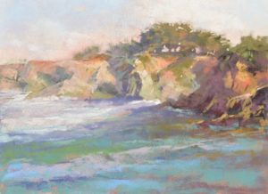 Sun and salt air plein air soft pastel seascape painting by SHaron Bamber of coastal cliffs and sea