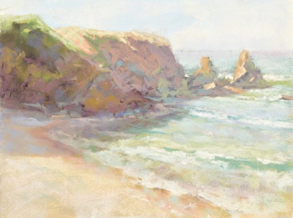 Sunshine Bay plein air soft pastel seascape painting by Sharon Bamber of coastal cliffs and sea