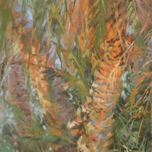 Tangle Palms by Sharon Bamber plein air soft pastel painting of palm trees