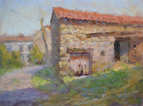 The Little Red Bicycle by Sharon Bamber plein air soft pastel painting of old French Village stone farmhouse