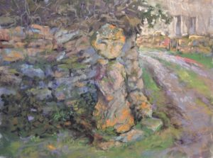 The Old Stone Crucifix by Sharon Bamber plein air soft pastel painting of an old stone cross