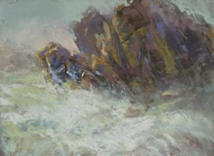 Thunder Rock by Sharon Bamber plein air soft pastel seascape of rocks and sea