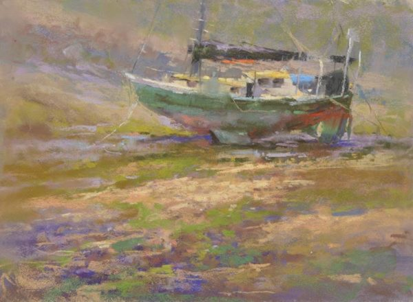 Time and Tide by Sharon Bamber plein air soft pastel seascape painting of a boat