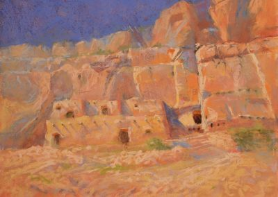 Cliff Dwellings by Sharon Bamber plein air pastel painting of old desert dwellings carved out of a cliff
