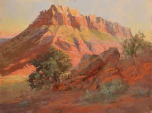 Early Morning Mesa by Sharon Bamber plein air pastel painting of desert Mesa