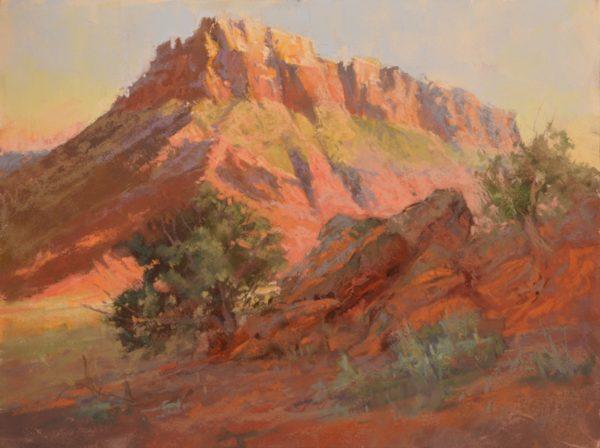 Early Morning Mesa by Sharon Bamber plein air pastel painting of desert Mesa