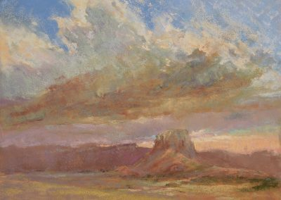 The Gathering by Sharon Bamber plein air pastel painting of desert mesa and gathering clouds