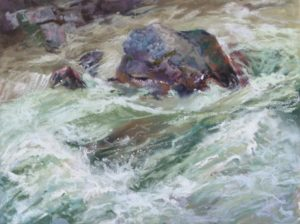 Spring Melt II by Sharon Bamber plein air soft pastel painting of a mountain stream in full flow