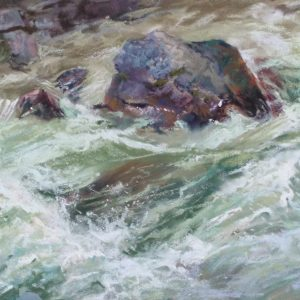 Spring Melt by Sharon Bamber plein air soft pastel painting of a mountain stream in full flow