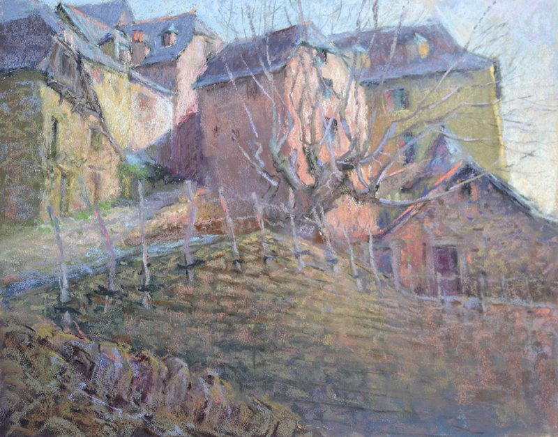 pastel painting of old buildings on the Way of Saint James by sharon bamber