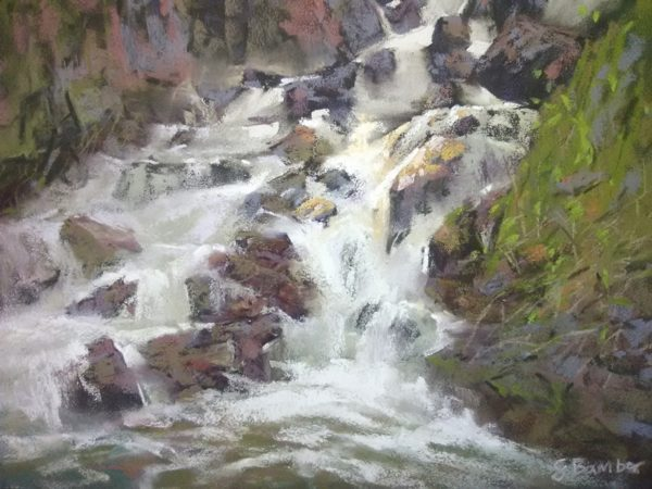 Forest Falls plein air pastel painting of waterfall by Sharon Bamber