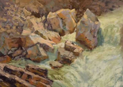 A Dance of Light by Sharon Bamber plein air soft pastel painting of rocks and water