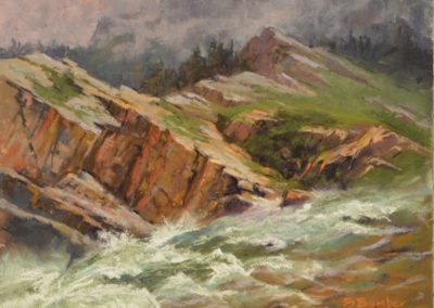 Into the Wild by Sharon Bamber plein air soft pastel painting of stormy mountain and river