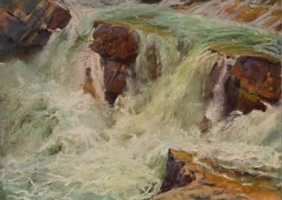 Swiftcurrent Cascades by Sharon Bamber plein air soft pastel painting of waterfall