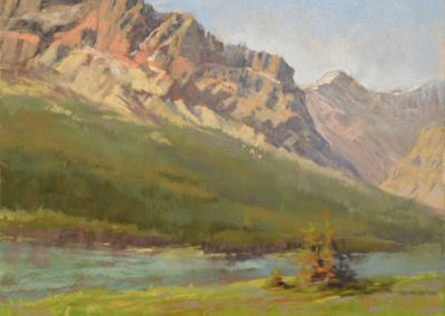 The Mountains Call by Sharon Bamber plein air soft pastel painting of mountains and lake
