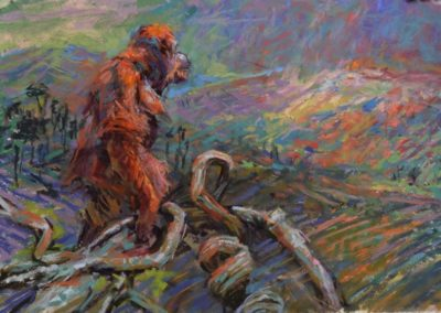 Twilight by Sharon Bamber soft pastel painting of an orangutan