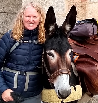 sharon bamber and her donkey dupon on the 1000 mile walking and painting expedition