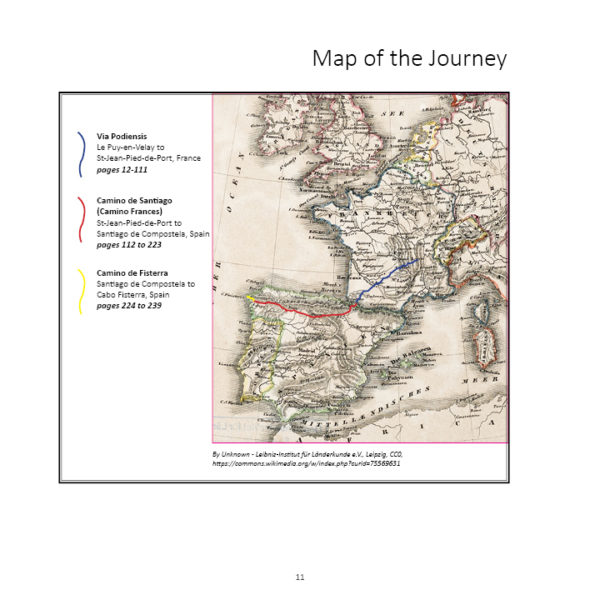 book by sharon bamber 1000 miles walking and painting the way of saint james Map of the route taken