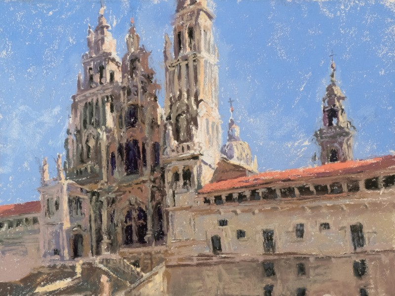 Santiago de Compostela Cathedral painting by Sharon Bamber
