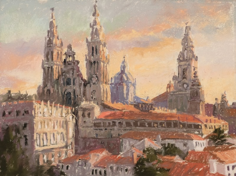 Sunrise Santiago Cathedral painting by Sharon Bamber