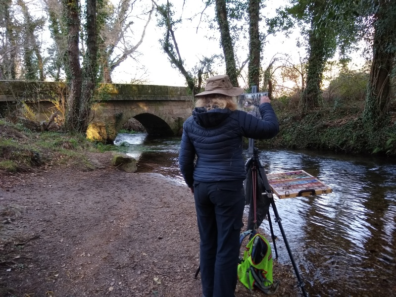 painting a stone bridge sharon bamber 1000 miles walking & painting the way of St James