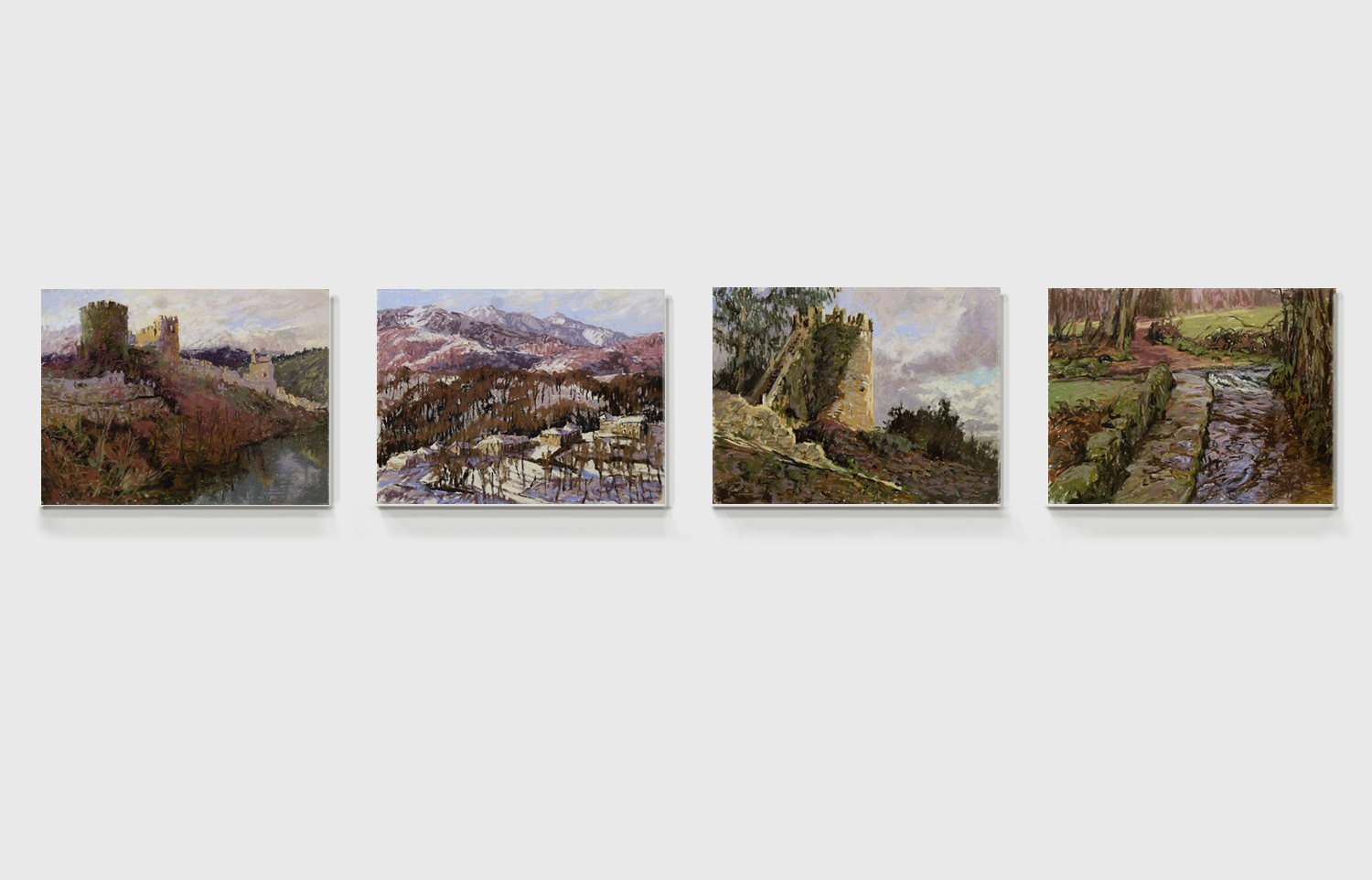selection of paintings by sharon bamber from 1000 Miles Walking & Painting the Way of St James