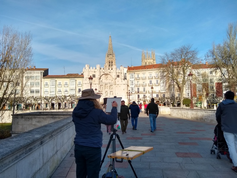 sharon bamber in Burgos 1000 miles walking & painting the Way of St James