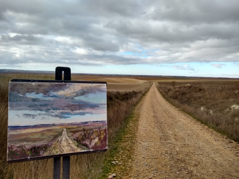 the Meseta painting number 134 by sharon bamber from 1000 miles walking & painting the way of St James