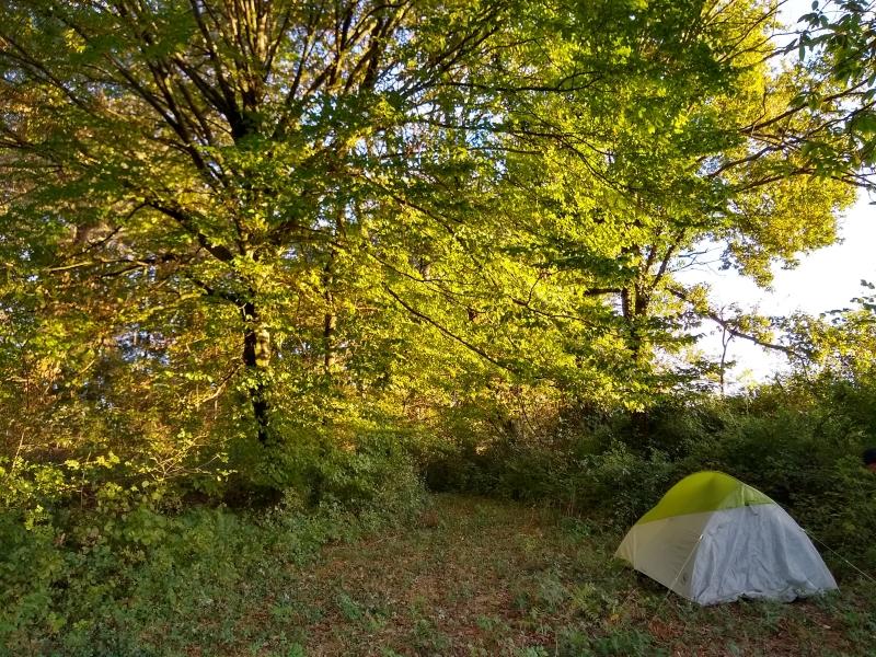 Sharon Bamber camping during 1000 miles walking & painting the way of saint james