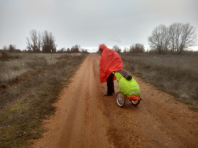Sharon Bamber hauling her load 1000 miles walking & painting the way of st james